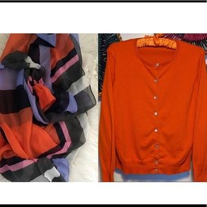 Lands End Cardigan WITH J Crew Scarf ~ Great Combo